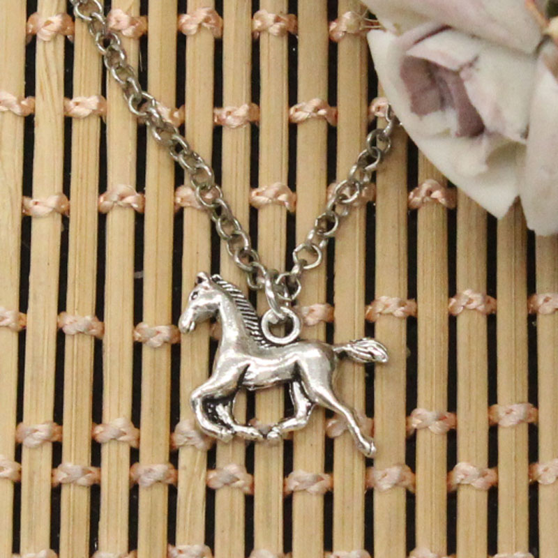 Новые модные Бег лошадь Подвески круглый крест цепи Короткие Длинные мужские женские DIY серебряное ожерелье украшения подарок