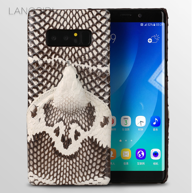 LANGSIDI marque coque de téléphone réel tête de serpent couverture arrière coque de téléphone pour Samsung Galaxy Note 8 traitement personnalisé manuel complet