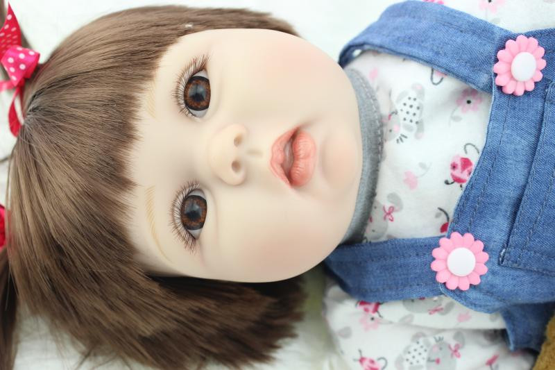 Silicone Reborn Baby Dolls with Clothes Brown Eyes, 50 CM Vivid Reborn Doll Educational Toy Free Shipping футболка toy machine leopard brown