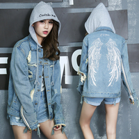 Women Ripped Denim Jackets Punk Style Jeans Coats Casual Hole Washed Outwears Female Long Sleeve Bottom Top Loose Couples Coats