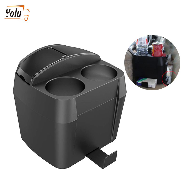 YOLU Multifunctional Car Trash Car Styling Black Cup Holder Drink Bottle Can Auto Trash Dustbin Tissue Clip