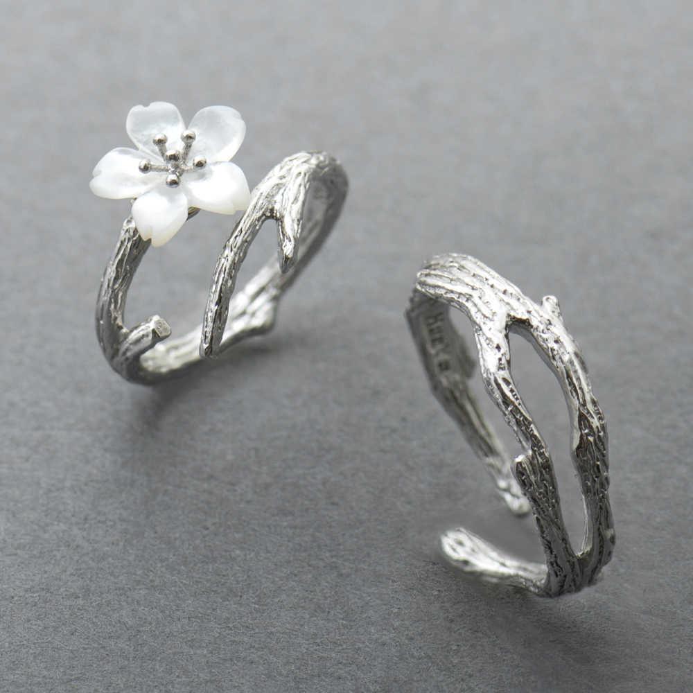 Thaya สีขาว Cherry Blossom แหวนเงิน s925 เงินเปลือกหอยธรรมชาติสาขาแหวนสำหรับสุภาพสตรีสุภาพสตรีสุภาพสตรีเครื่องประดับ