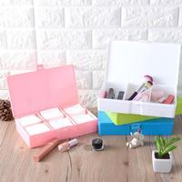 1Pc Container Dustproof 3 Grid Storage Box Plastic With Lid Makeup Jewelry Box Cosmetic Organizer Boxes