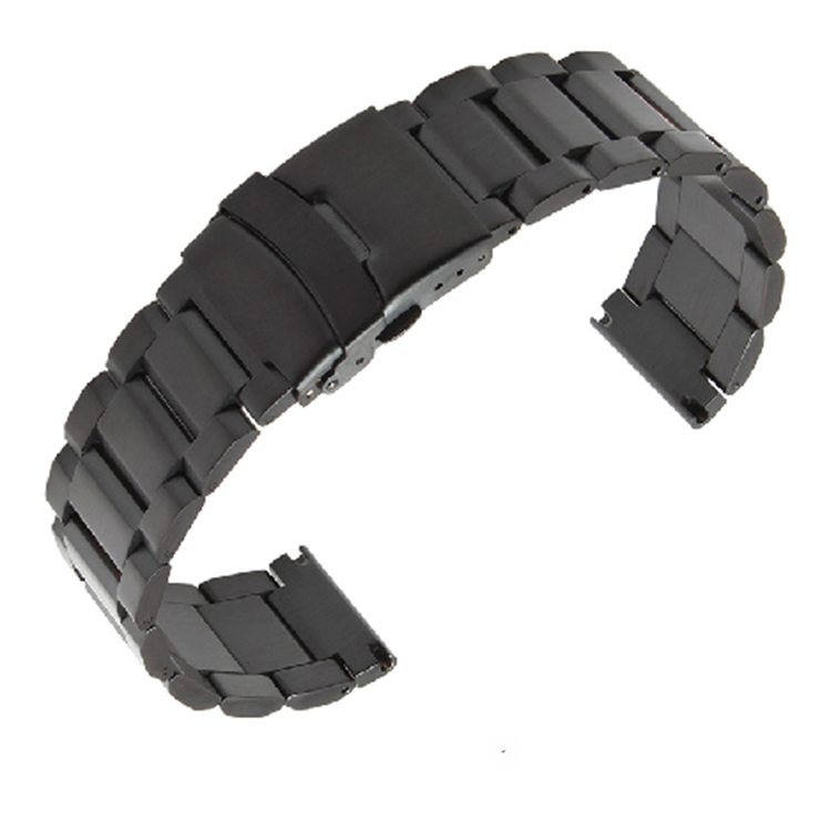 Fast Delivery Black Stainless Steel Watch Band Strap Mens Straps Metal Bracelet 18mm 20mm 22mm 24mm Insurance Clasp Dull Polish In Watchbands From Watches