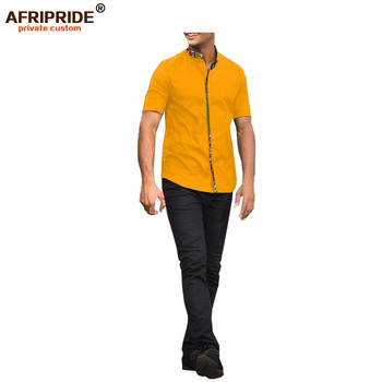 2018 summer apring casual men's T-shirt AFRIPRIDE short sleeve single breasted notched collar cotton T-shirt for men A1813002