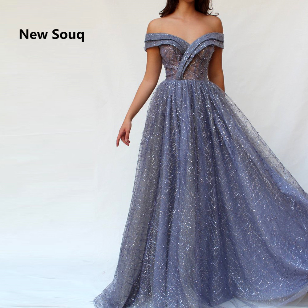 Off The Shoulder Sequins   Prom     Dresses   Soft Tulle A-Line Floor Length Saudi Arabic   Prom     Dress   Robe De Soiree Formal Evening Gowns