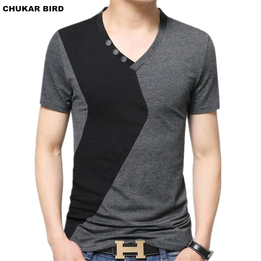Black t shirt mens - Chukar Bird Mens V Neck T Shirts Luxury Casual Slim Fit Stylish Short Sleeve T