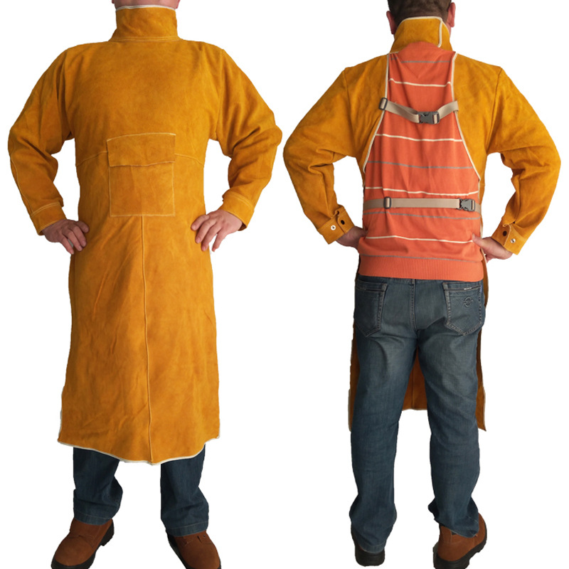Welding Apron Flame Retardant Long Sleeve Welder Hign Temperature Protective Clothing Durable Fireproof Wear-resistant Aprons new durable leather welding long coat apron protective clothing apparel suit welder workplace safety clothing
