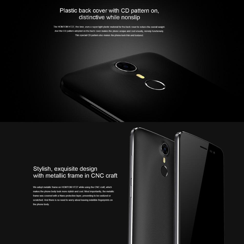 Original Homtom MT6580 HT27 Teléfono Móvil Android 6.0 1G + 8G 5.5 pulgadas HD H
