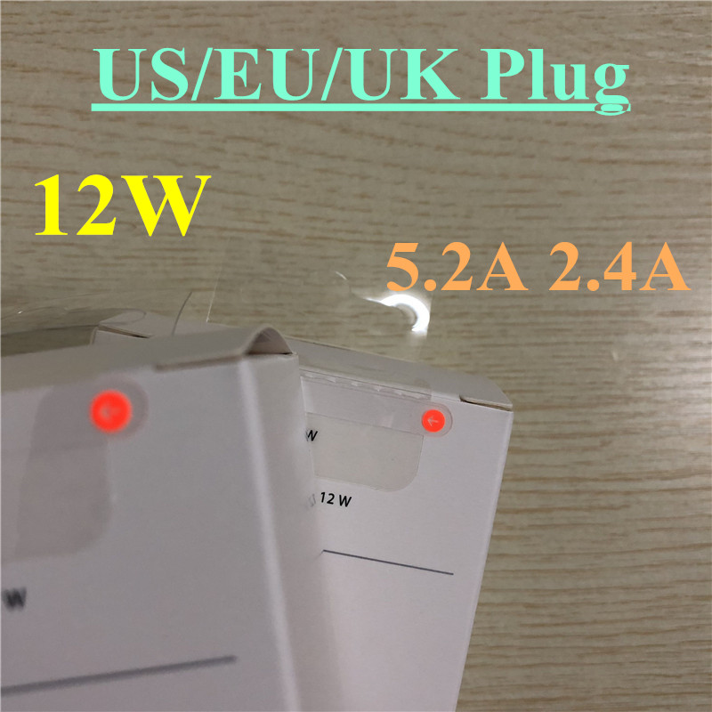 10pcs/lot EU US UK plug 12W A1401 USB Power Adapter AC home Wall Charger 5.2v 2.4A Retail box with original logo-in Mobile Phone Chargers from Cellphones & Telecommunications    1