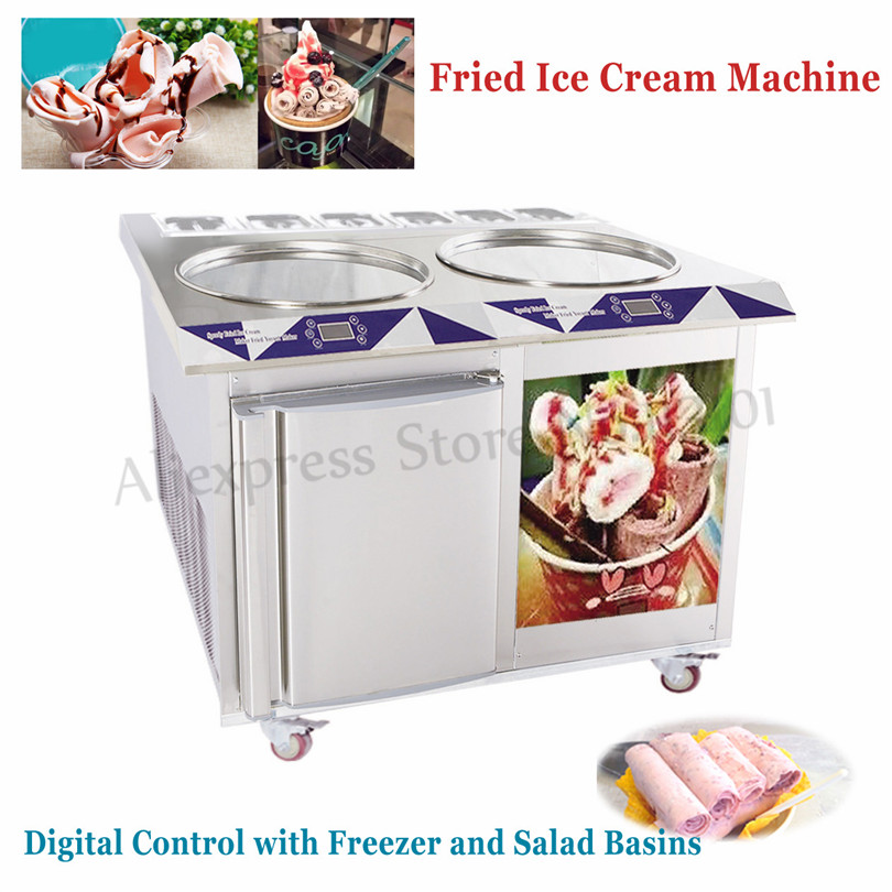 Double Flat Round Pans Fried Ice Cream Roll Machine 220V 55CM Pan Size with 6 Compartments and Freezer ce fried ice cream machine stainless steel fried ice machine single round pan ice pan machine thai ice cream roll machine