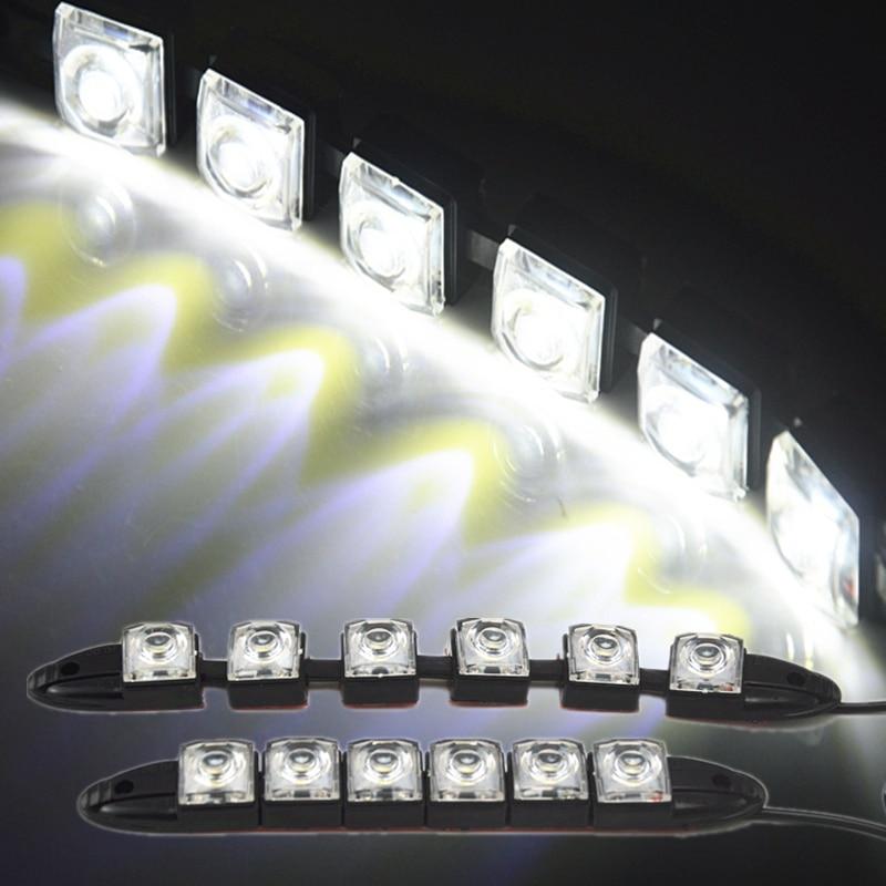 RJOKTEAM 2Pcs/lot Flexible DRL LED Daytime Running Lights Lamp Car Day Light Bar Fog Lights 12V 6 LED Car Styling Decor Lighting