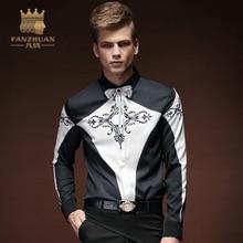 FANZHUAN Youth font b Men b font font b Shirt b font Fashion Geometric Black And