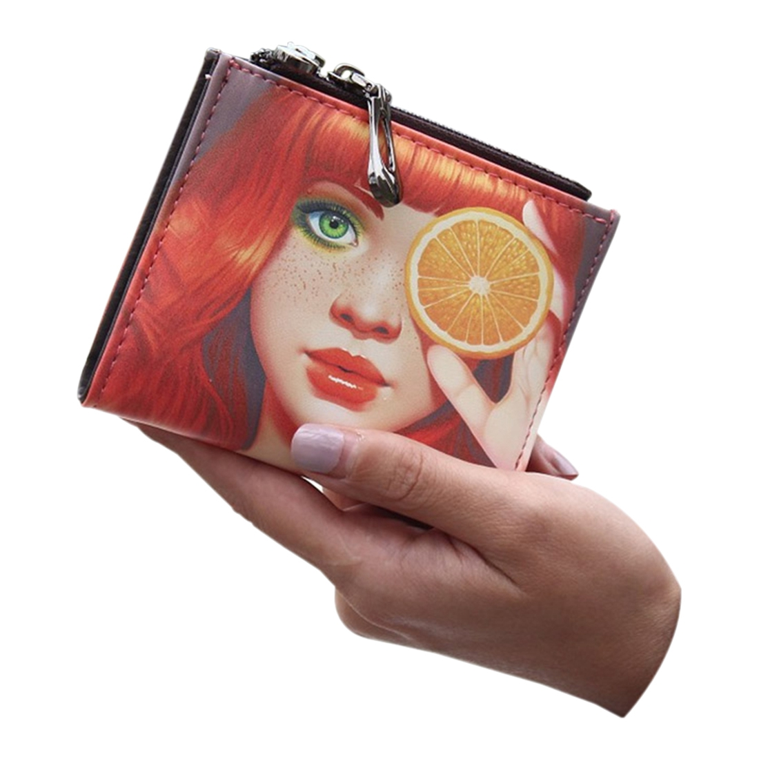 FGGS Fashion cartoon wallet short women wallet zipper female purse card holder(Lemon Girl)