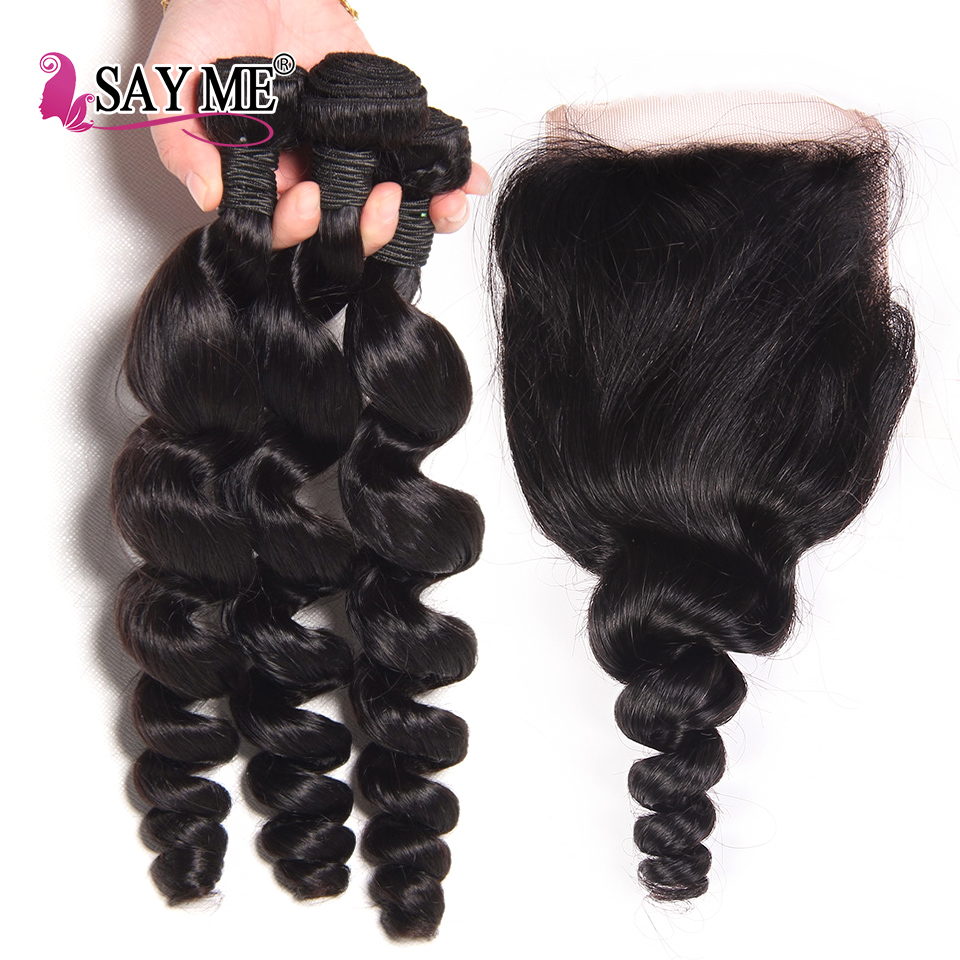 Peruvian Loose Wave Bundles With Closure 100% Human Hair 3 Bundles With Lace Closure Free Part SAY ME Remy Weave Hair Extension