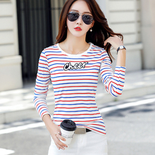 Embroidery T Shirt Women 2018 Autumn Tshirt Camiseta Mujer Casual Tops Striped T-shirt Korean Style Tee Femme