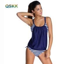 Estudiante más Tamaño Tankini del traje de Baño de Dos Piezas Bikini Conjunto de Rayas double up sport traje de baño las mujeres 2 unidades trajes xl xxl XXXL
