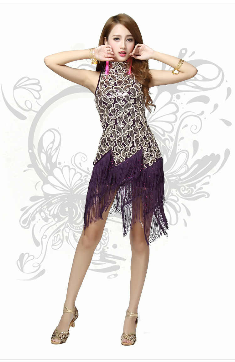 3352d94ea9bbf ... ballroom latin dance dress women black competition gold sequin Fringe Dancing  Dresses Costume Tango Samba Skirts ...