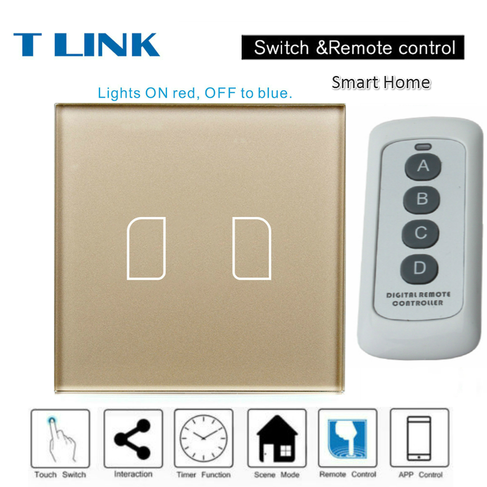 TLINK EU Standard 1 2 3 gang Touch Switch LED Waterproof Tempered Smart Home Wall Switch with remote control smart home eu touch switch wireless remote control wall touch switch 3 gang 1 way white crystal glass panel waterproof power