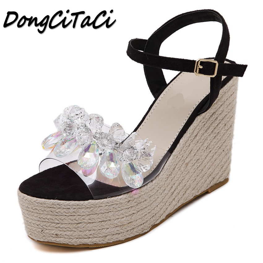 DongCiTaCi Summer 2018 Women Wedges Sandals Shoes Woman Buckle Strap Ladies Fashion Straw Transparent Crystal Platforms Sandals women sandals fashion straw shoes woman summer wedges sandals ankle strap casual ladies flat sandals