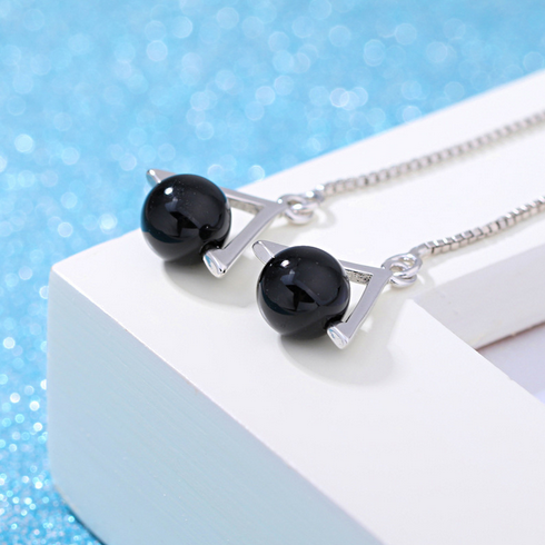 OMHXZJ Wholesale black Fashion joker Women triangle agate 925 Sterling Silver Tassel pendant drop Long Ear Line Earrings YS138-in Earrings from Jewelry & Accessories on Aliexpress.com | Alibaba Group