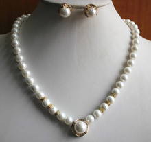 Prett Lovely Women's Wedding simple style 8mm white shell pearl necklace matched with 14mm earring and pendant jewelry set for w