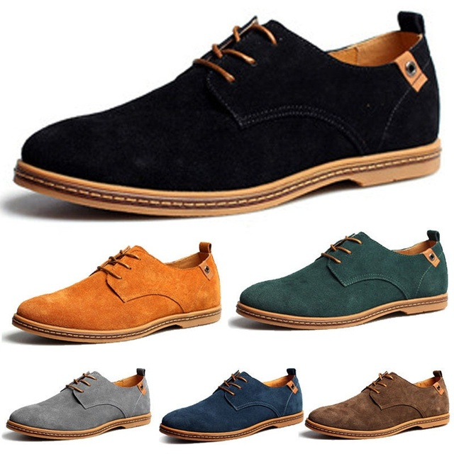 Men Shoes New Mens Casual Dress/Formal Oxfords Shoes Wing Tip Suede Leather  Flats Lace