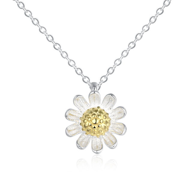 85bee8adf4bb97 SVN072 Fashion 100% Real 925 Sterling Silver Jewelry Necklaces & Pendants  Daisy Flower Pendant Necklace