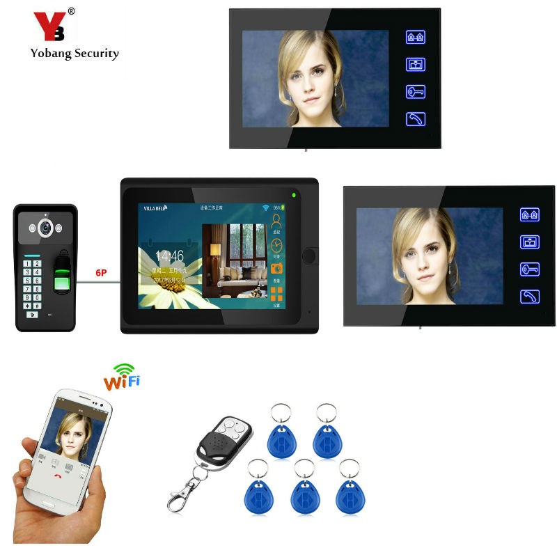 Yobang Security 7 3 Monitors Wired /Wireless Wifi Video Door Phone Doorbell Intercom System with Fingerprint RFID Password Cam yobang security freeship 3 5inch monitor wireless video intercom doorbell door phone intercom system intercom door bell phone
