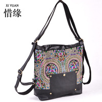 XIYUAN BRAND Luxury And Elegant Women Handmade Ethnic Floral Flower Embroidered Backpack Dual Use Bag Shoulder