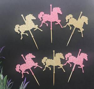 Блеск лошадь карусель День рождения кекс топперы детский душ Крещение крещение украшение партии пончик Еда Выбирает