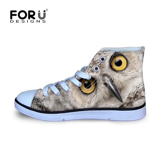 FORUDESIGNS Women Casual Canvas Shoes 3D Animals Owl Lerpard Panda Girl Students School Leisure Flats High Top Vulcanized Shoes