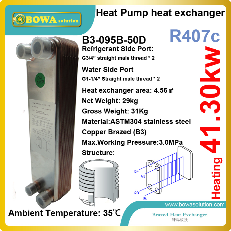 41kw heating capacity R407c to water compact condenser for heat pump water heater replace LHE plate heat exchanger 15kw r410a to water and 4 5mpa plate heat exchanger is working as condenser in compact size heat pump water heaters