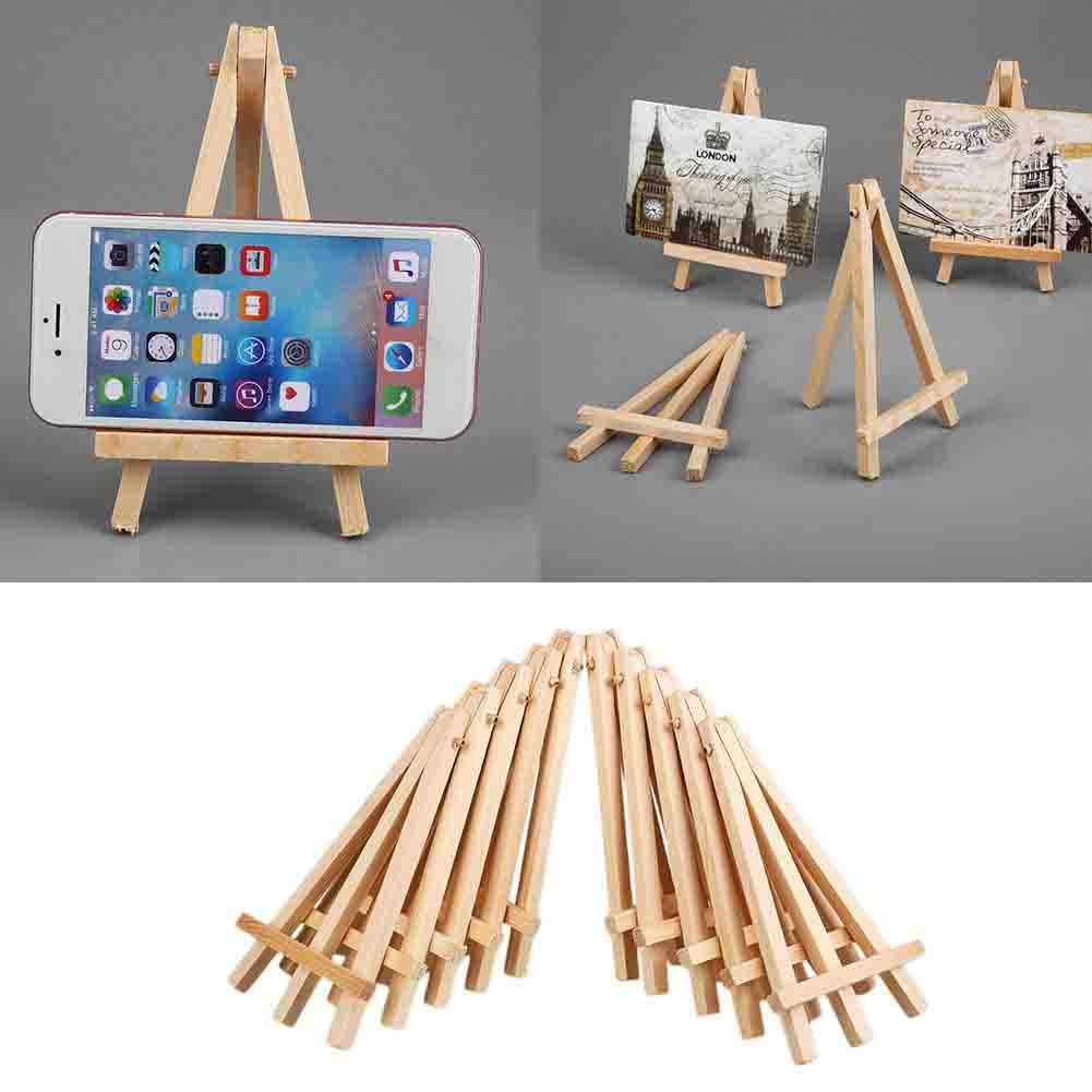 10pcs Mini DIY Wood Stand Artist Wooden Easel Wedding Table Card Stand Display Holder For Party Decoration 15*8cm Triange Easel