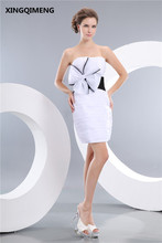 La manera Barata Simple Blanco y Negro Vestidos de Coctel Corto Elegante Vestido de Cóctel Sin Tirantes Mini Vestidos de Partido Vestido de Las Mujeres