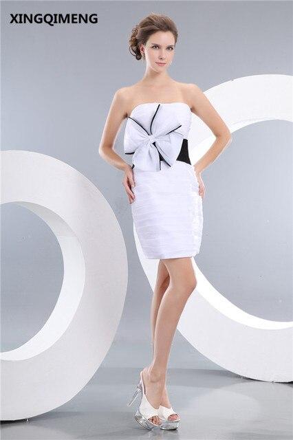 b3724ecf9bb4 Mode Pas Cher Simple Blanc et Noir Robes de Cocktail Courte Élégante Robe  de Cocktail Sans