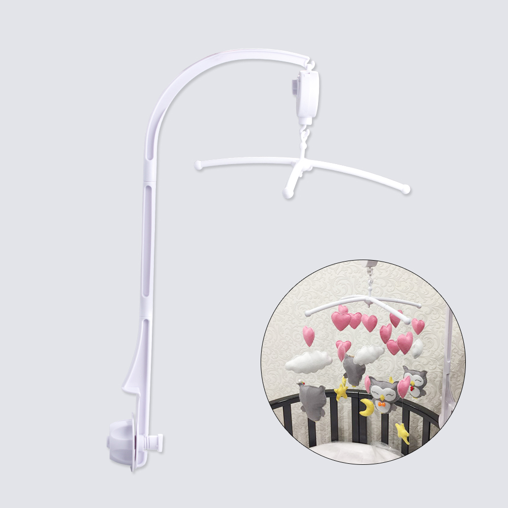 Baby Toys White Rattles Bracket Set Baby Crib Mobile Bed Bell Toy Holder Arm Bracket Hugs Wind-up Music Box Developing Toys 72cm baby bed hanging rattles toys hanger diy hanging baby crib mobile bed bell toy holder 360 degree rotate arm bracket set