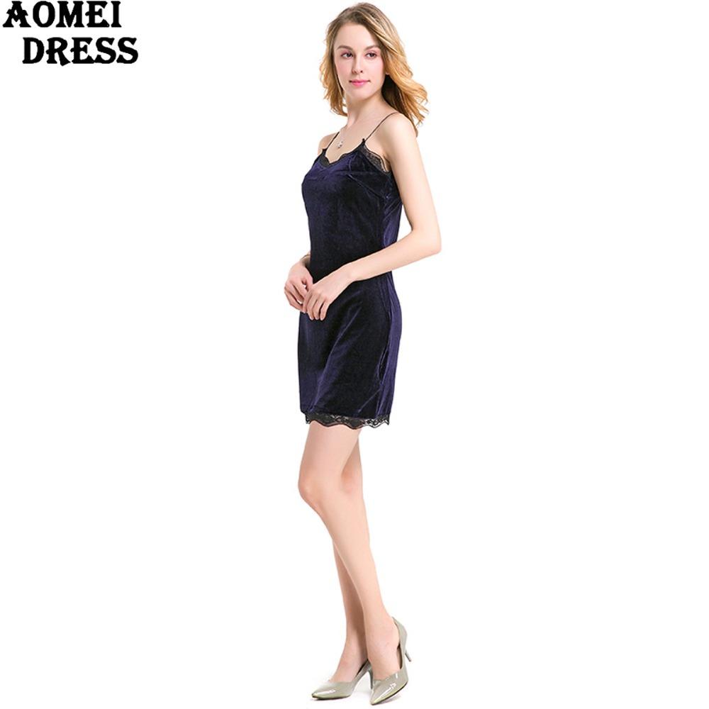 HTB1xUawPpXXXXbWapXXq6xXFXXXv - FREE SHIPPING Women New Sexy Velour Dress With Lace Sphagetti Robes JKP259