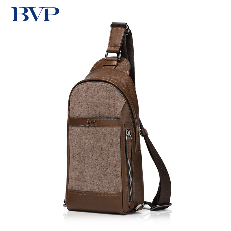 BVP Brand High Quality Genuine Leather Men Chest Bag Sling Bag Cow Leather Vintage Zipper Brown Shoulder Bag Men Chest Pack J40 slim fit design mega storage capacity holster shape chest bag for men armpit oxter sling bag