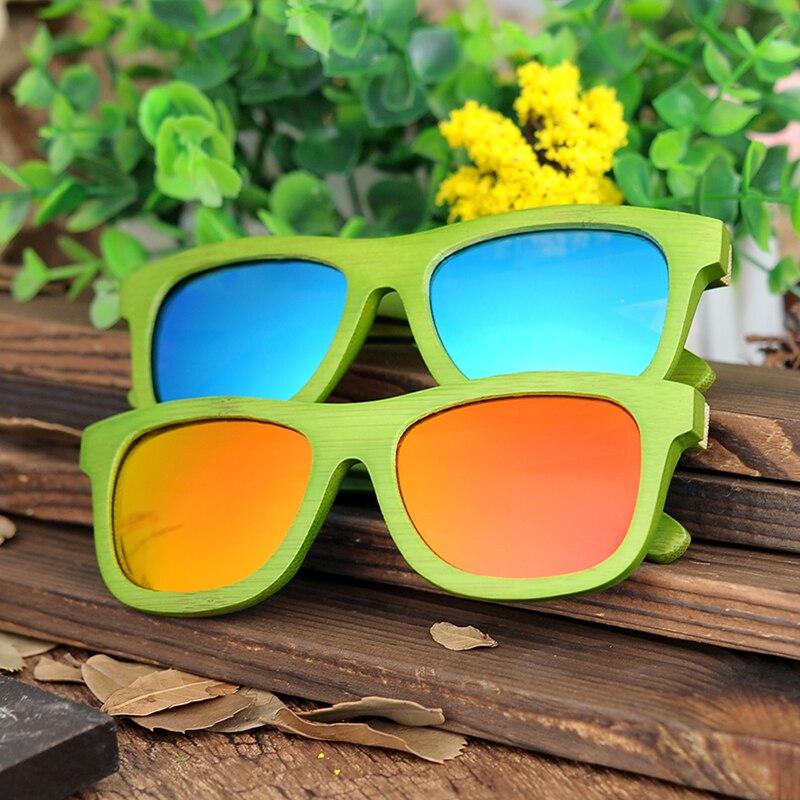 Бобо птица ручной работы модные Солнцезащитные очки для женщин для Для женщин и Для Мужчин зеленый бамбук деревянный Рамки с лазерной логот...