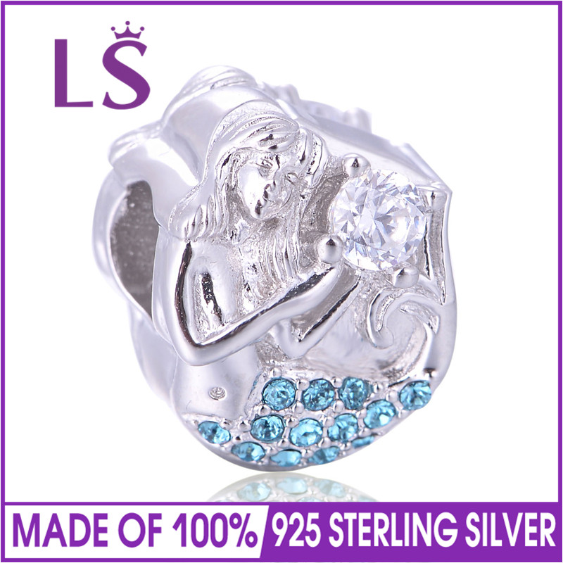 LS Real 925 Sterling Silver Ocean Mermaid Charm Bead fit Bracelets Necklaces Beads & Jewelry Makings
