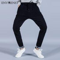 Envmenst 2017 Brand News Fashion Drawstrings Designed Jeans for Men Slim Street Denim Pants Hip Hop High Elasticity Jeans