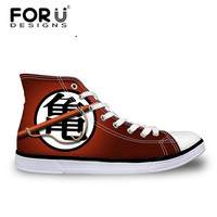 FORUDESIGNS Fashion Anime Dragon Ball Z Mens High top Vulcanized Shoes One Piece Print Canvas Shoes for Boys Autumn Sneaker Shoe