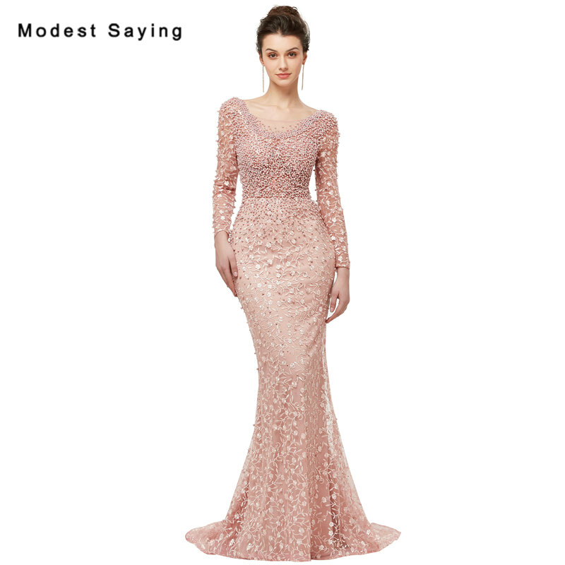 Romantic Nude Pink Mermaid Long Sleeve Pearls Lace Evening Dresses ...