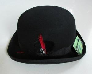 Image 4 - 100% Wool Derby Hat Unisex Bowler Hats Wool Felt Fedora Hats Derby Bowler Hats Feather Decorate B 8134