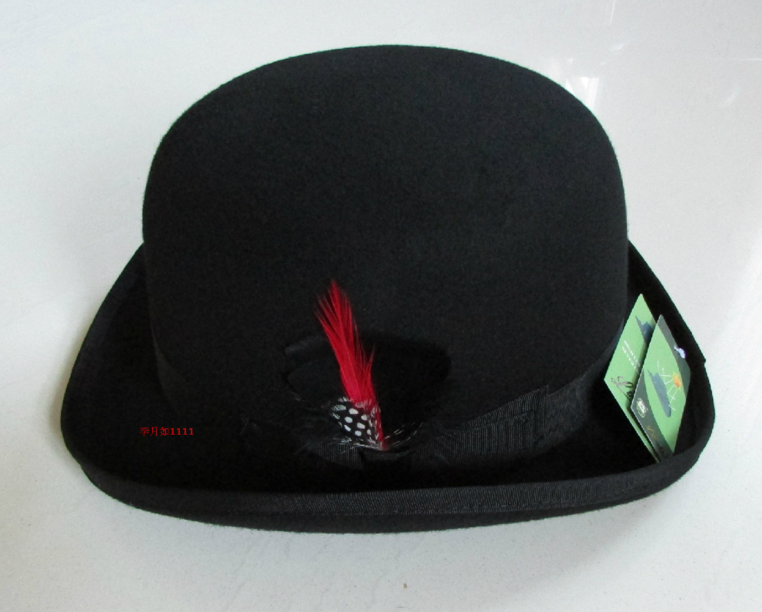 Image 4 - New 100% Wool Hat High Quality Fashion Men's and Women's Black Cap Bowler Hats Black Wool Felt Derby Bowler Hats B 8134-in Men's Fedoras from Apparel Accessories