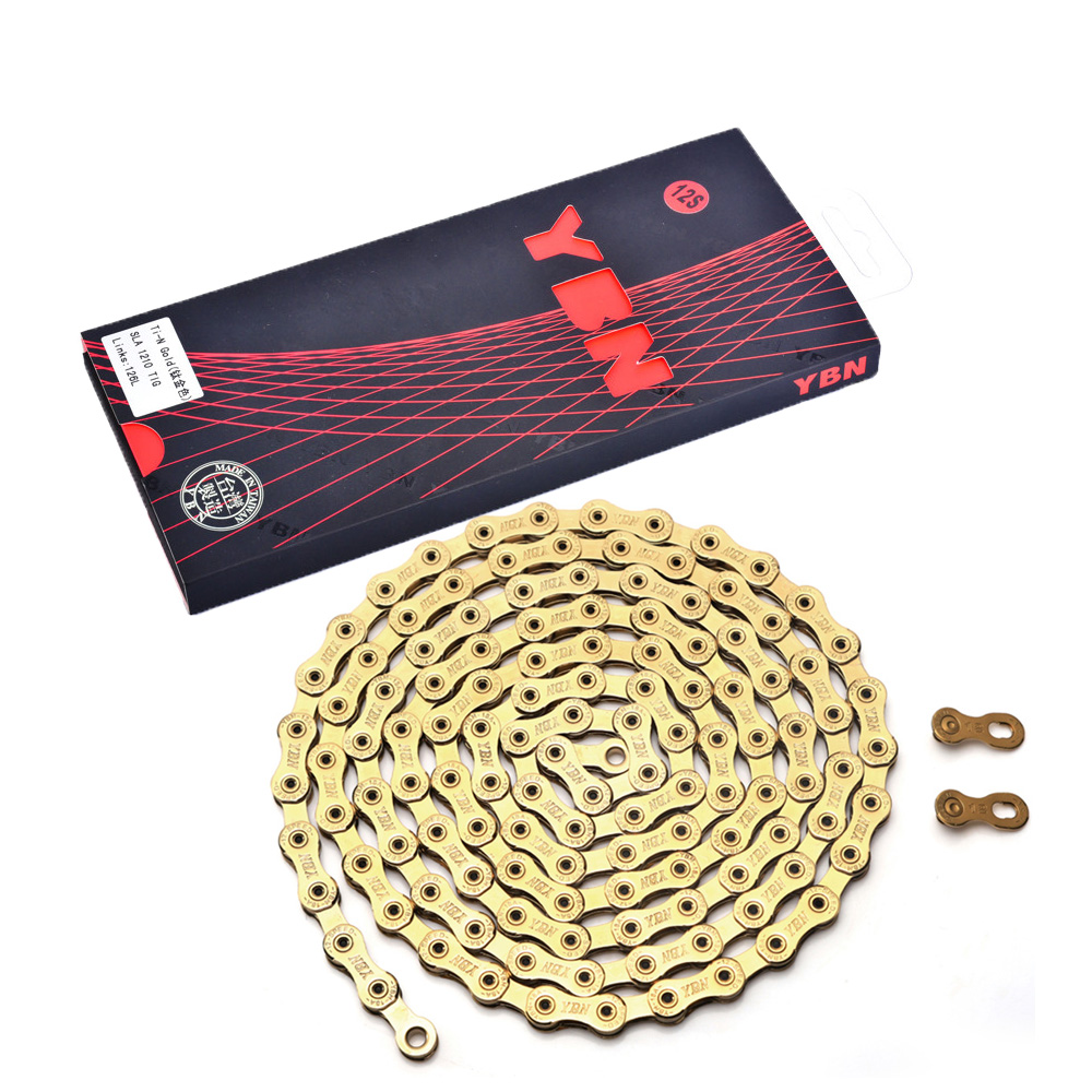 YBN SLA Ti Titanium Gold Bike <font><b>Chain</b></font> <font><b>12</b></font> Speed 126 Links magic link button compatible with SRAM GX Eagle 12s Bicycle <font><b>Chain</b></font> 126L image