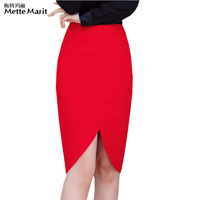 098d97e8ac Mettemarit 2016 Otoño Las Faldas de Cintura Alta Longitud de La Rodilla Recta  Falda Lápiz Largas