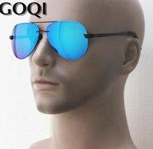 GOQI ,iconic fashion pilot  model men metal frame polarized sunglasses ,63MM rimless classical unisex holiday leisure gafas