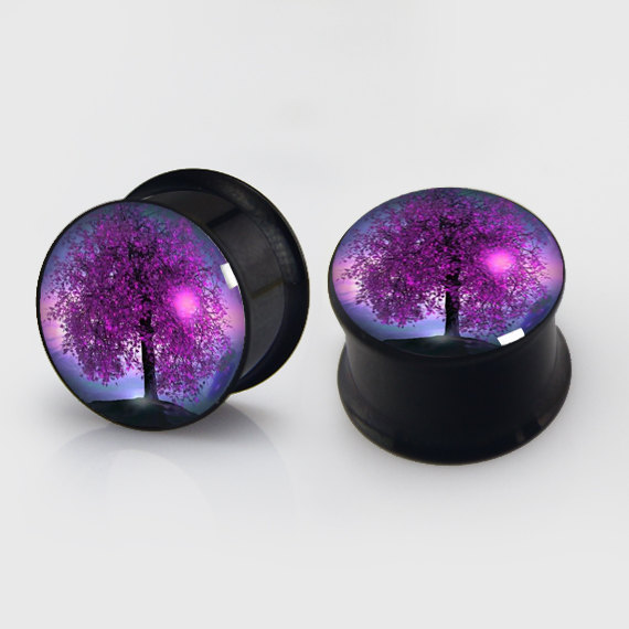 2 pieces tree of life plugs anodized black ear plug gauges steel flesh tunnel earlets body piercing jewelry 1 pair